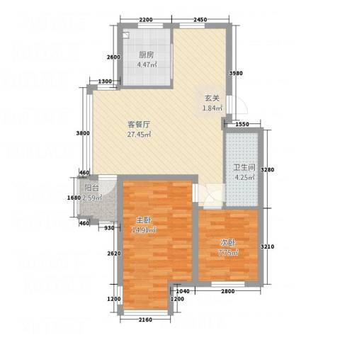 宏运新城2室1厅1卫1厨77.00㎡户型图