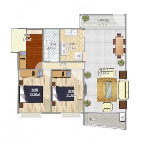 富逸上苑3室1厅1卫1厨109.00㎡户型图