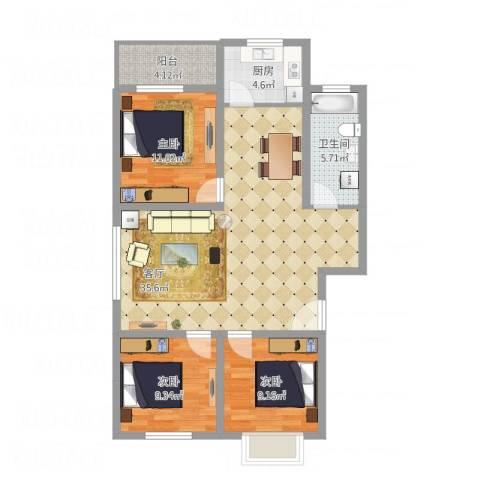 鑫空间地中海风格商业效果图3室1厅1卫1厨113.00㎡户型图