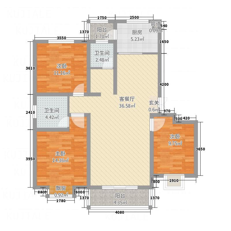 左岸国际3213.20㎡C户型3室2厅2卫1厨