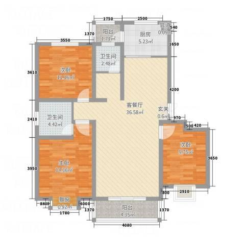 左岸国际3室1厅2卫1厨3213.00㎡户型图