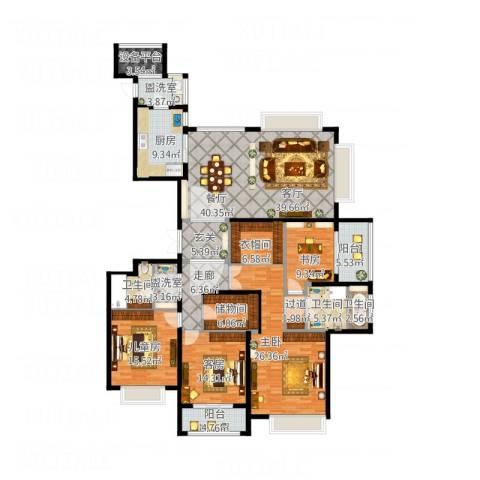 雅戈尔东海府3室3厅3卫1厨209.00㎡户型图