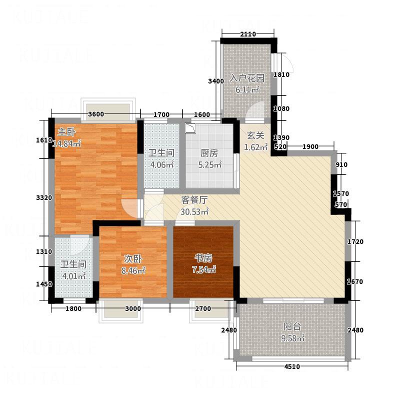 丰荷苑1322112.75㎡E户型3室2厅2卫1厨