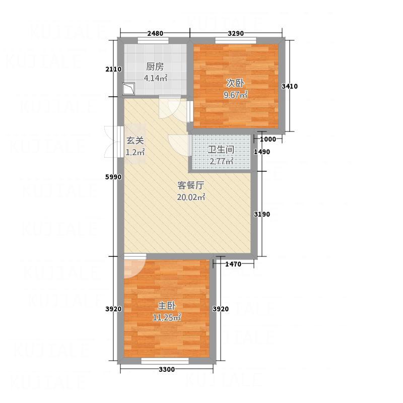 依海芳洲77.67㎡户型2室1厅1卫1厨