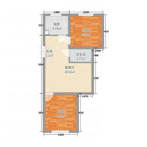 依海芳洲2室1厅1卫1厨78.00㎡户型图