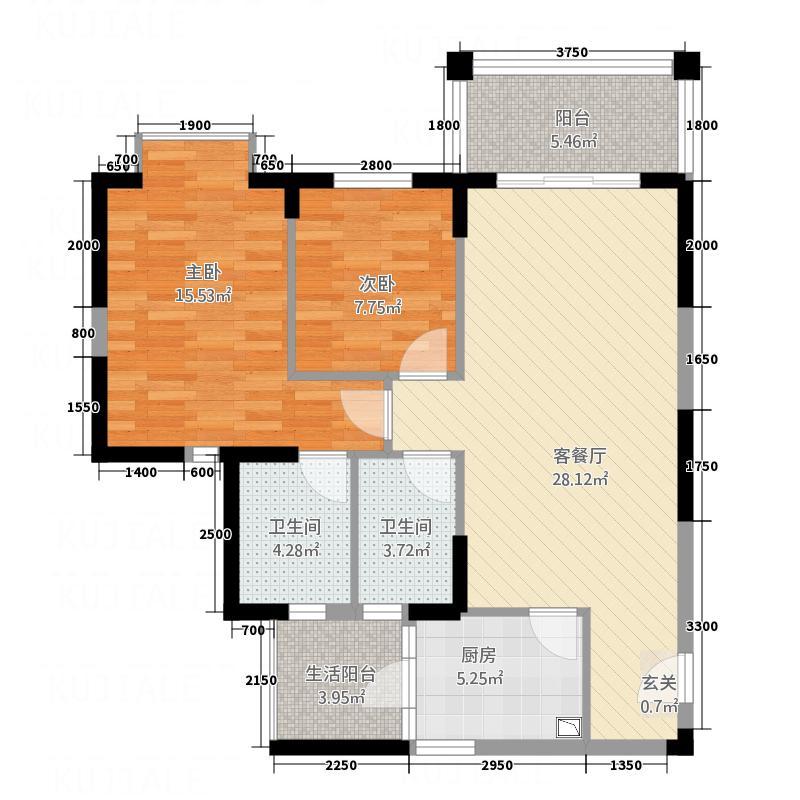 新世界花园帝景台户型2室