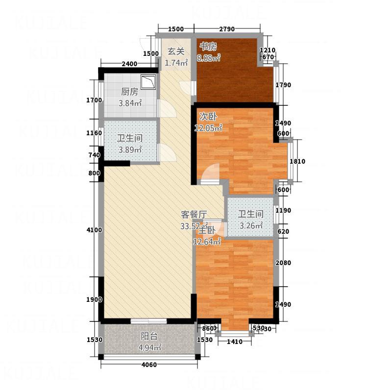 聚镇125.00㎡6#B梯、C梯、7#A梯、B梯02、03单元户型3室2厅2卫1厨