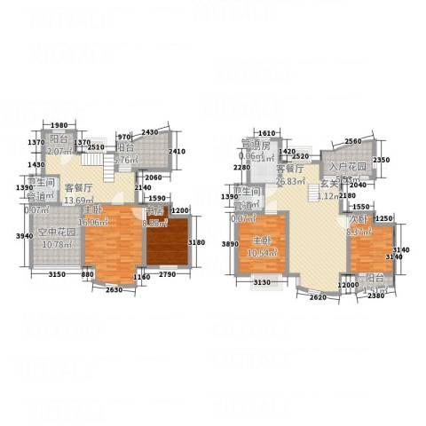 海航白金汇4室2厅2卫1厨172.00㎡户型图