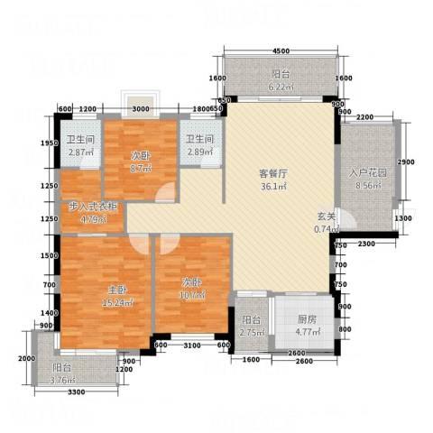 凤凰新城3室1厅2卫1厨125.00㎡户型图