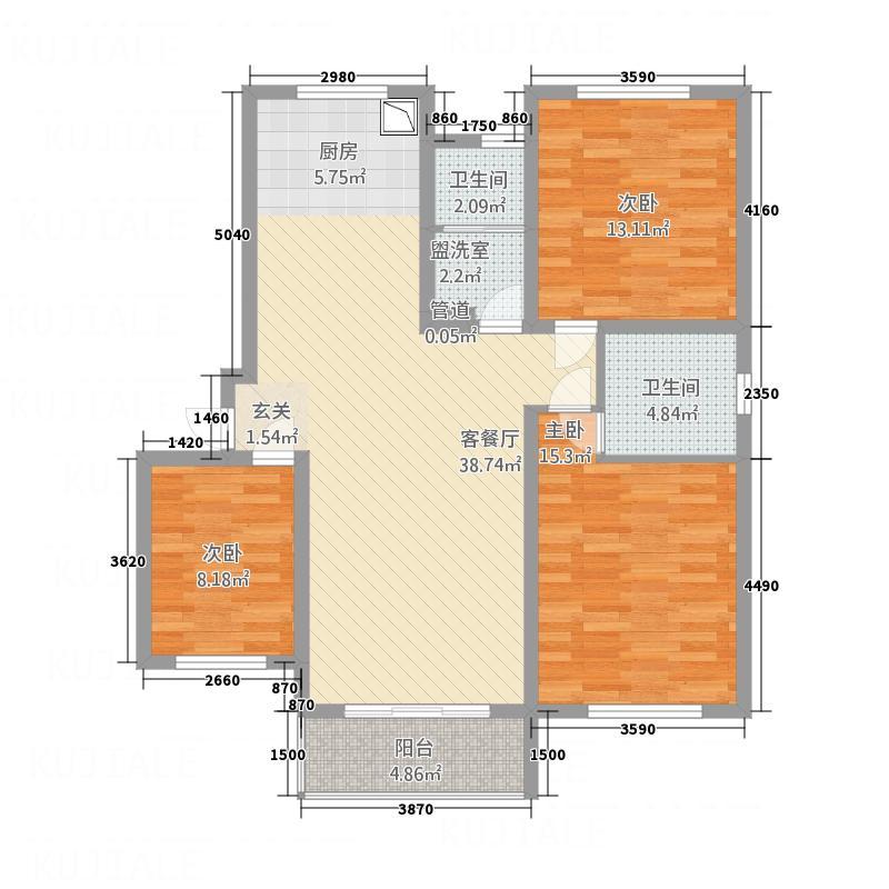 湖畔佳苑156.00㎡户型3室2厅2卫1厨