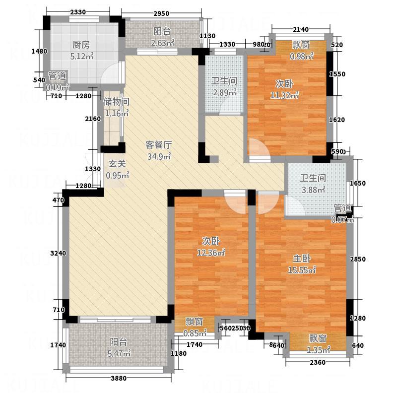 高能上城138.00㎡F1户型3室2厅2卫1厨