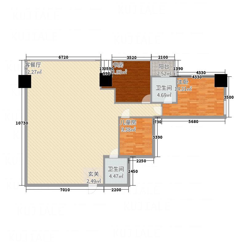 华利国际174.13㎡e户型3室2厅1卫1厨