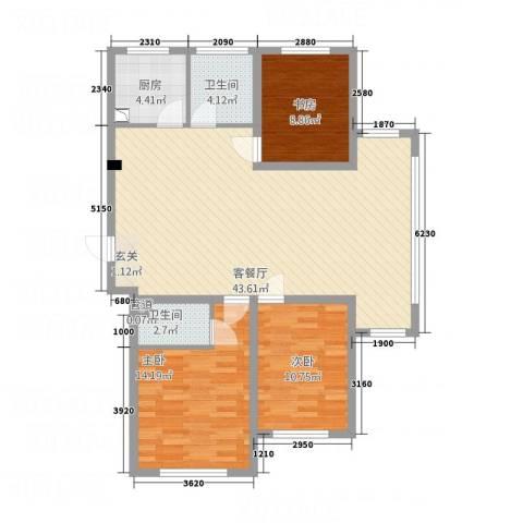 依海芳洲3室1厅2卫1厨136.00㎡户型图