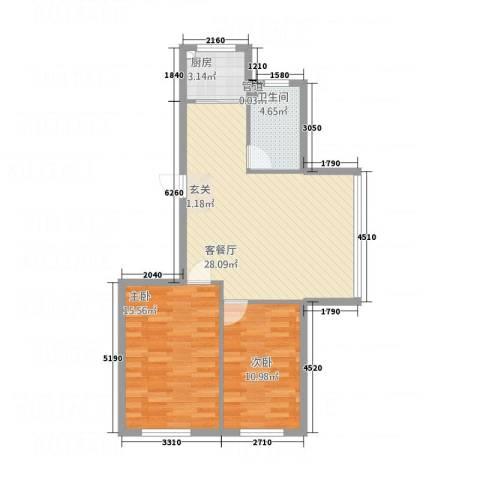 依海芳洲2室1厅1卫1厨62.45㎡户型图