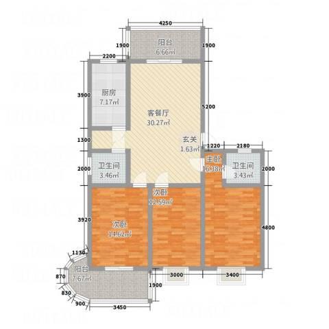 银鹭・金柏湾3室1厅2卫1厨144.00㎡户型图