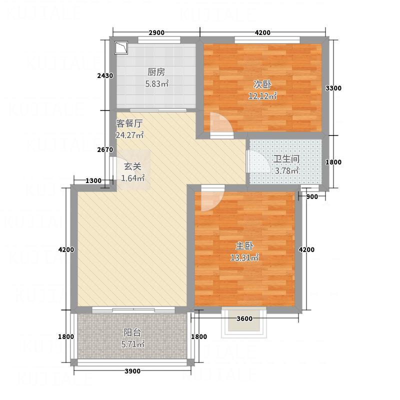 三维・映月长河8.40㎡J2户型2室2厅1卫1厨