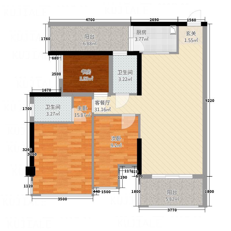 盛天公馆|88街区88.00㎡5#楼B座05户型2室2厅2卫1厨