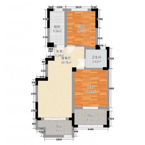 世界名城2室1厅1卫1厨85.00㎡户型图