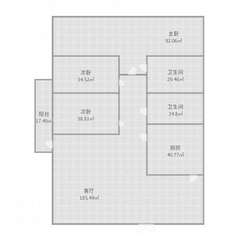 加州花园3室1厅2卫1厨599.00㎡户型图