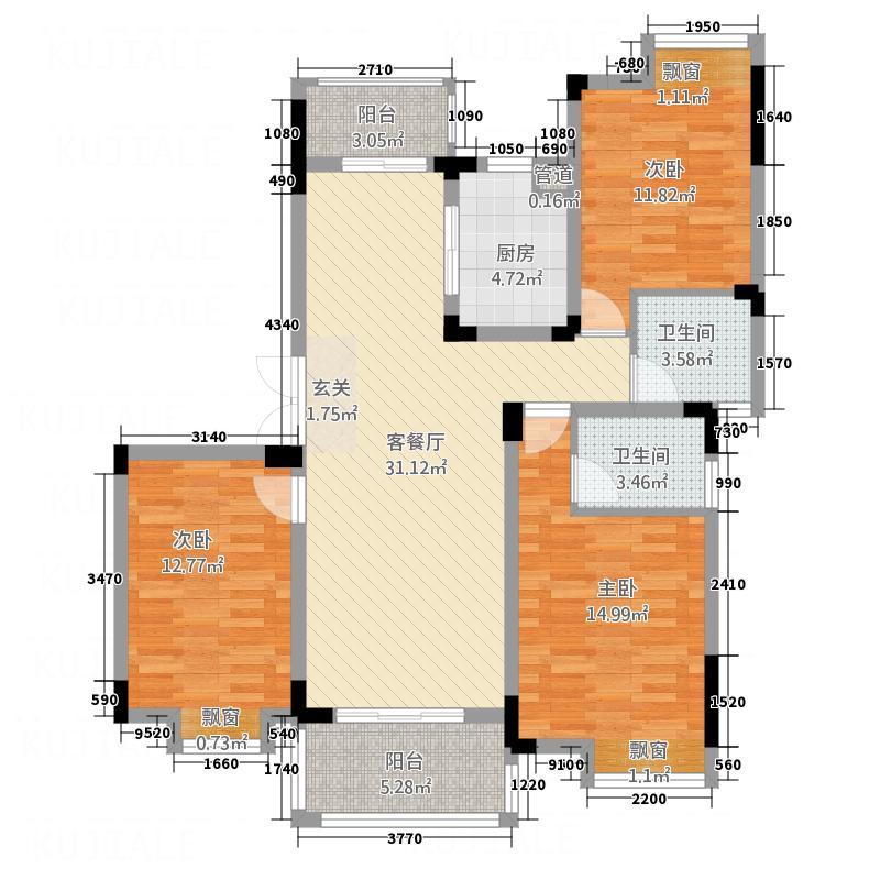 高能上城131.00㎡F2户型3室2厅2卫1厨