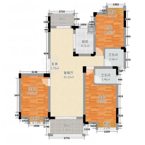 高能上城3室1厅2卫1厨131.00㎡户型图