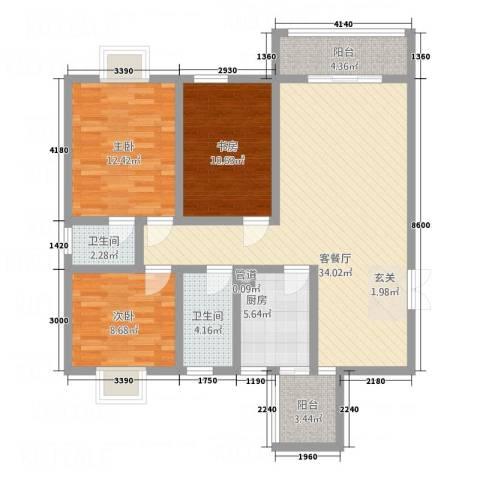 宇发荣域3室1厅2卫1厨125.00㎡户型图