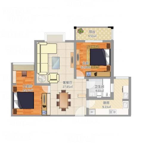 常熟中关村科技城2室1厅1卫1厨104.00㎡户型图