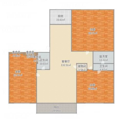 五四小区3室2厅2卫1厨545.00㎡户型图