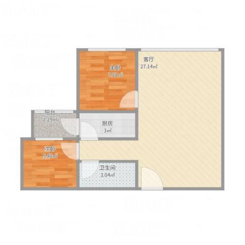 航天城小区2室1厅1卫1厨65.00㎡户型图
