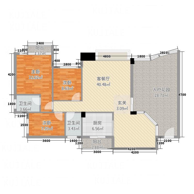 东城中心三期113.00㎡东城中心三期3室户型3室