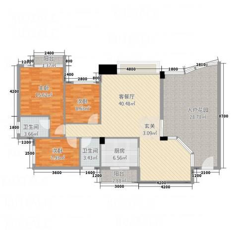 东城中心三期3室1厅2卫1厨119.28㎡户型图