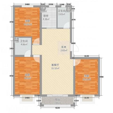 世贸广场3室1厅2卫1厨123.00㎡户型图