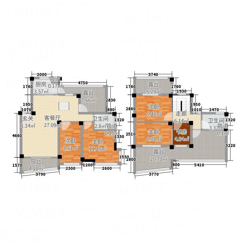 水印三江178.88㎡C复式型户型3室2厅2卫1厨