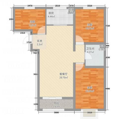 世贸广场3室1厅1卫1厨74.18㎡户型图