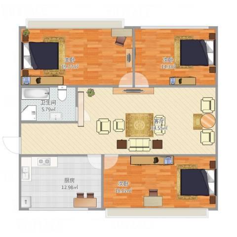 东新园望景苑3室1厅1卫1厨140.00㎡户型图
