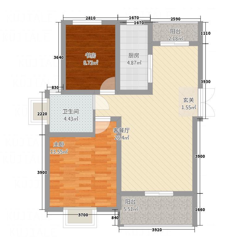盘蠡花园5.43㎡D户型2室2厅1卫1厨