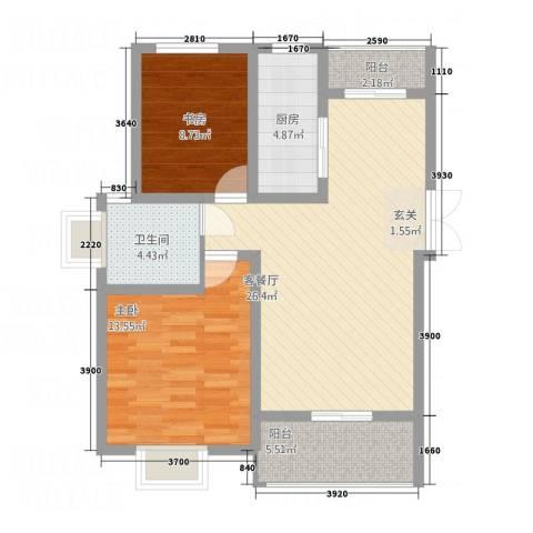 盘蠡花园2室1厅1卫1厨65.67㎡户型图