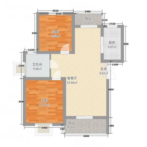 盘蠡花园2室1厅1卫1厨88.00㎡户型图