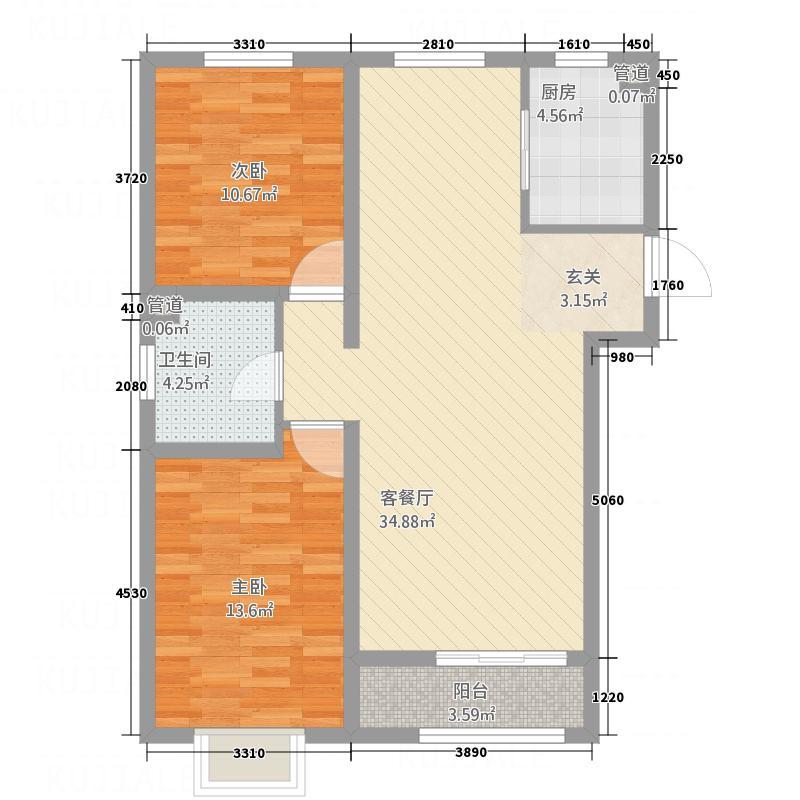 世贸广场12.00㎡3#-B户型2室2厅1卫1厨
