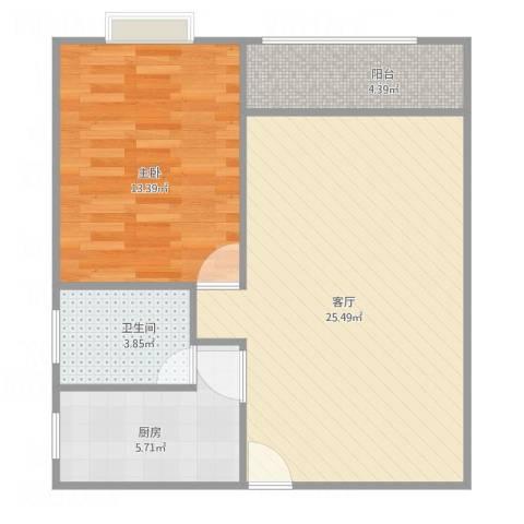 麒麟花园三期1室1厅1卫1厨71.00㎡户型图