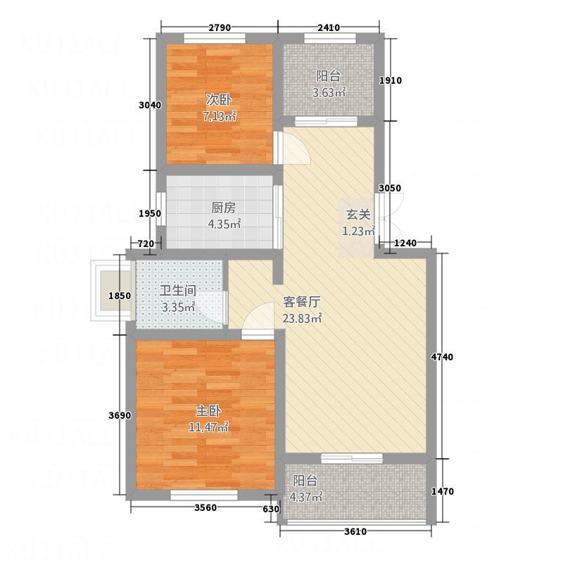 盘蠡花园85.71㎡B户型2室2厅1卫1厨