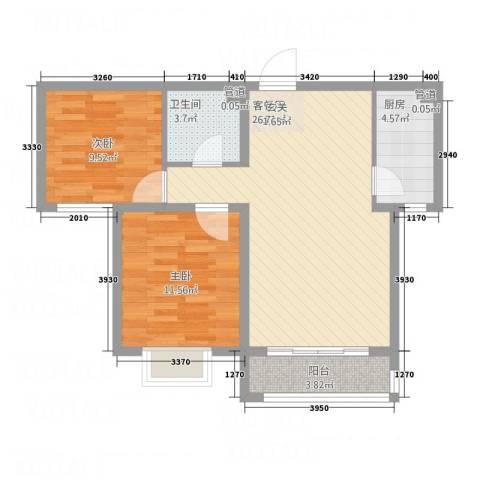 世贸广场2室1厅1卫1厨86.00㎡户型图