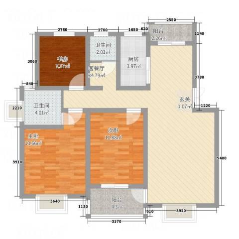 盘蠡花园3室1厅2卫1厨123.00㎡户型图
