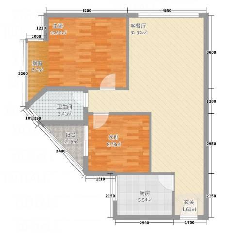 相国生活馆2室1厅1卫1厨89.00㎡户型图