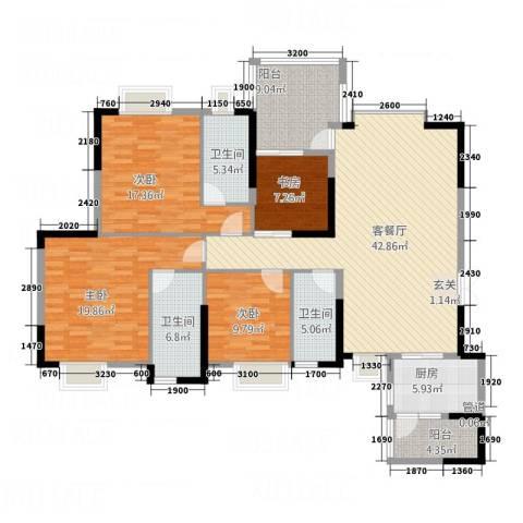 海悦新城4室1厅3卫1厨146.00㎡户型图