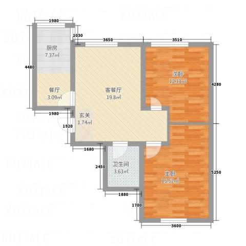 金河湾2室1厅1卫1厨58.63㎡户型图