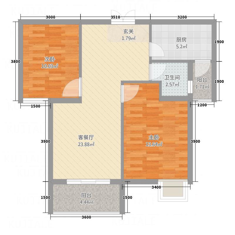 海润广场85.50㎡A1户型2室2厅1卫