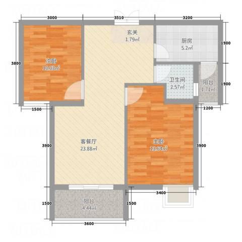 海润广场2室1厅1卫1厨86.00㎡户型图