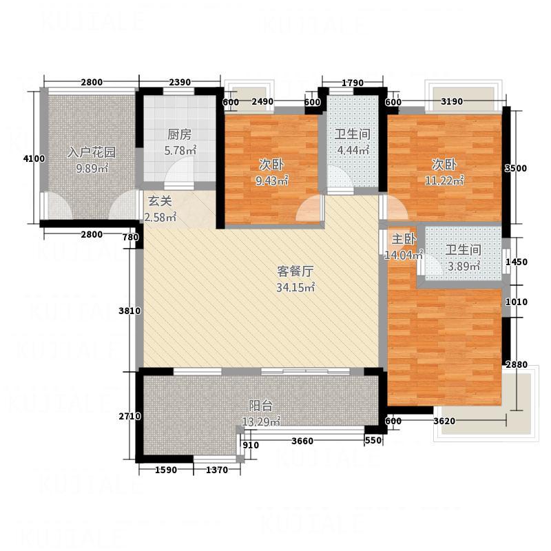 财富立方12.84㎡A2户型3室2厅2卫1厨