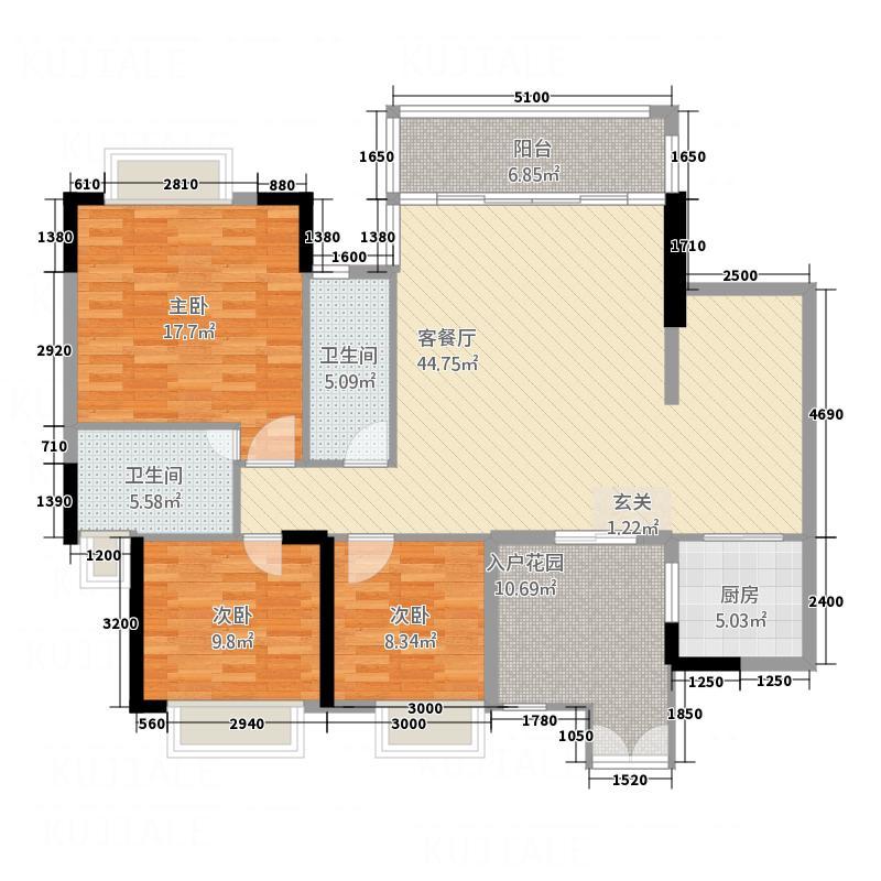 凯旋荟14.00㎡奢适户型3室2厅2卫1厨